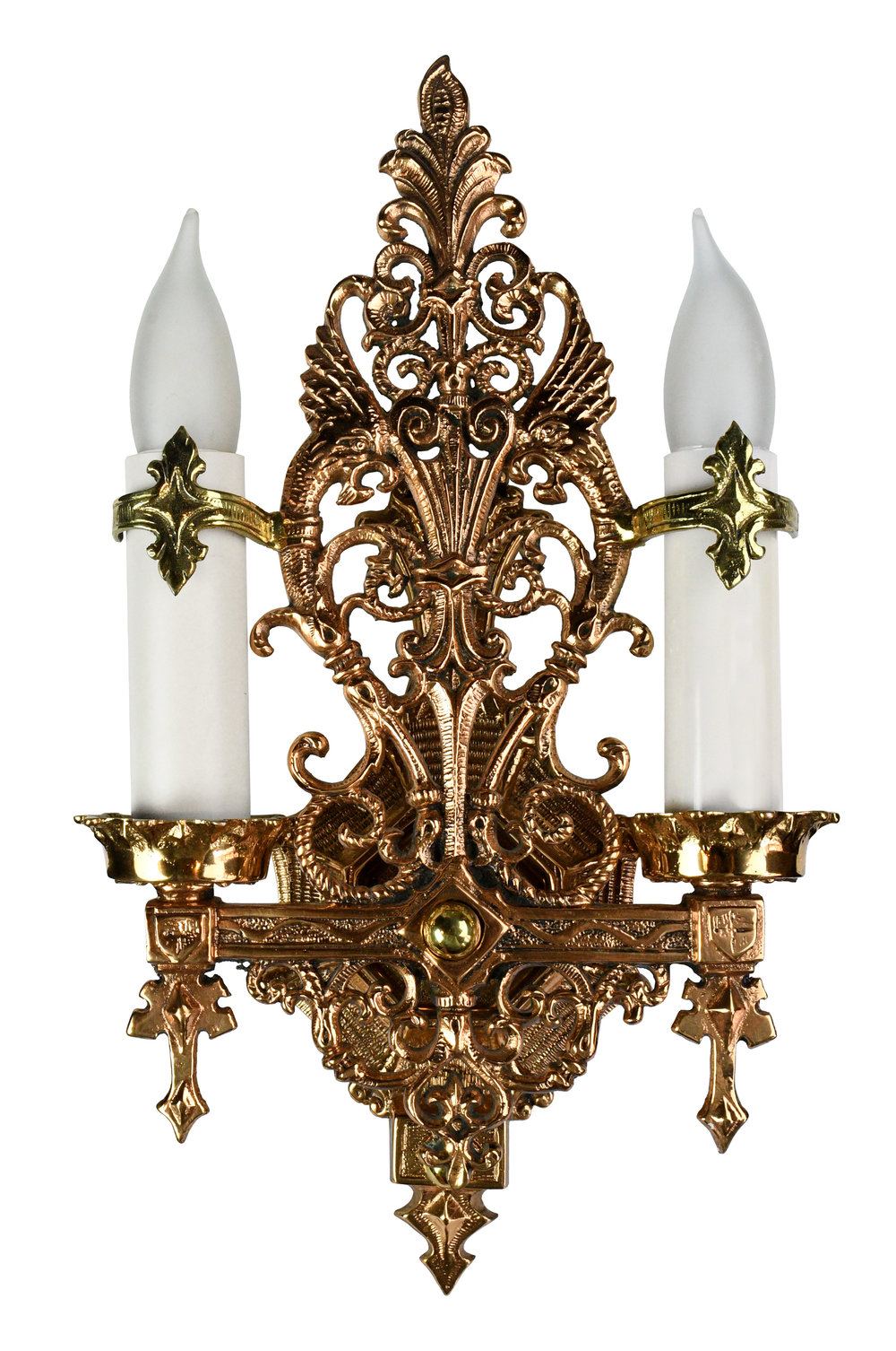 polished cast brass two candle sconce with griffins