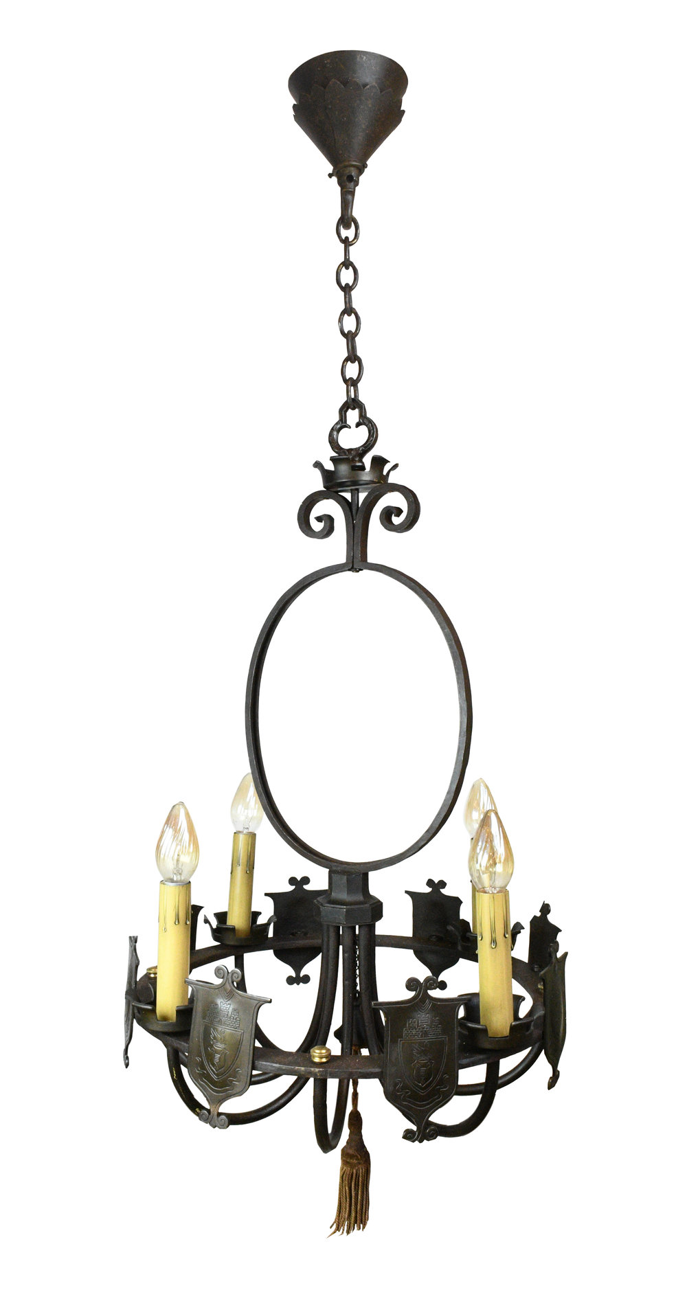 iron four candle tudor chandelier
