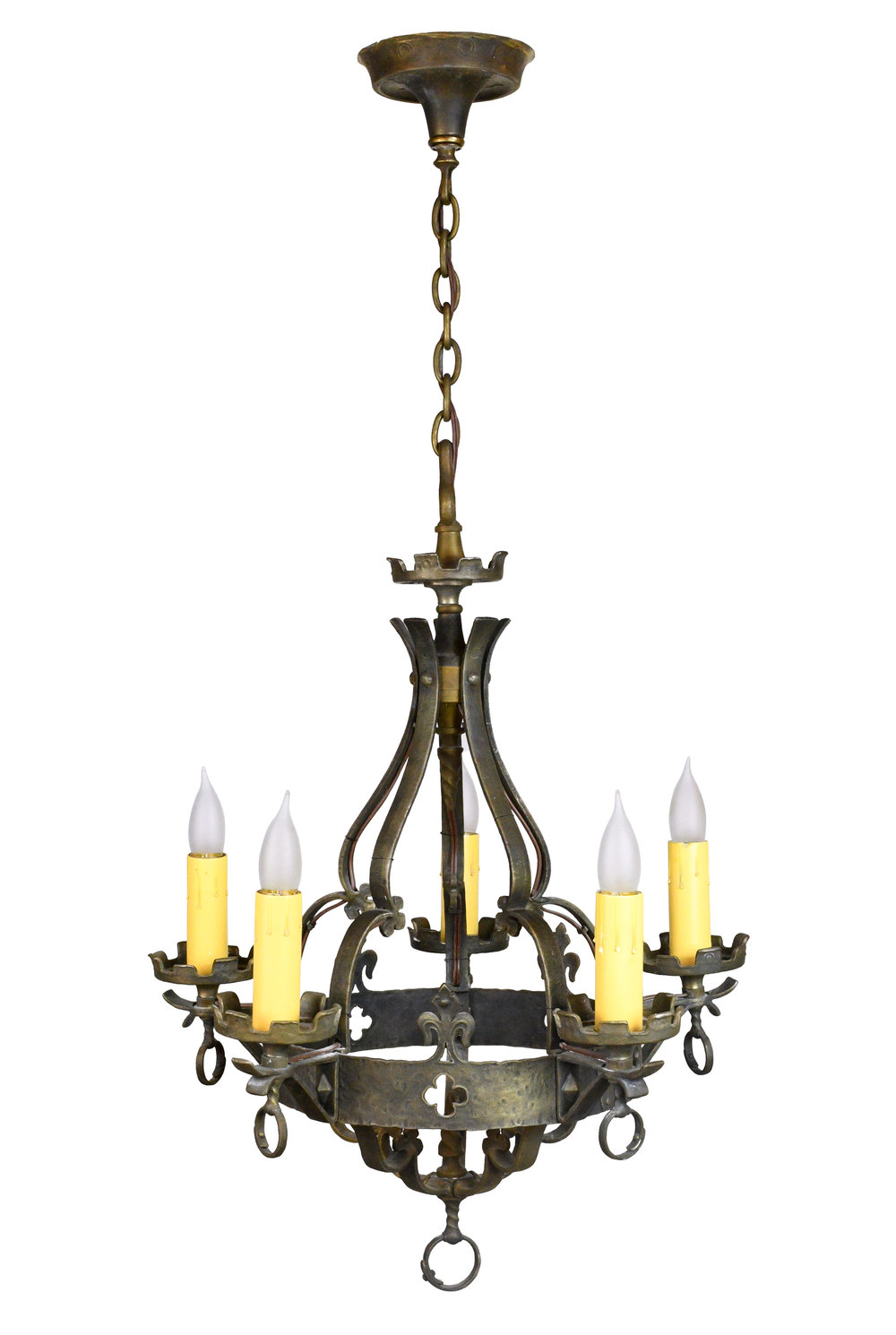 bronze five candle tudor chandelier