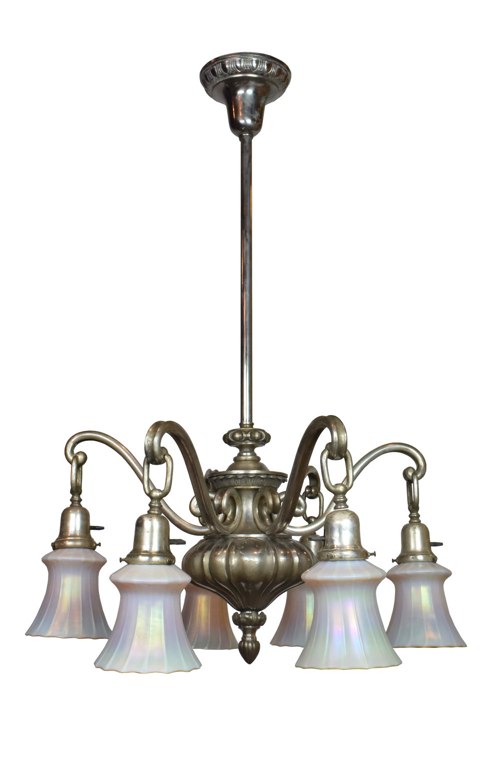 silver plated art nouveau chandelier