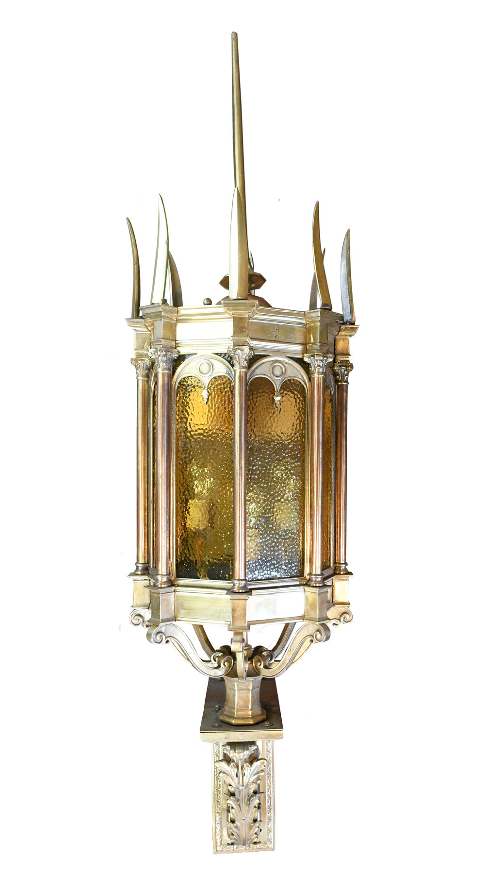 bronze exterior sconce with spikes