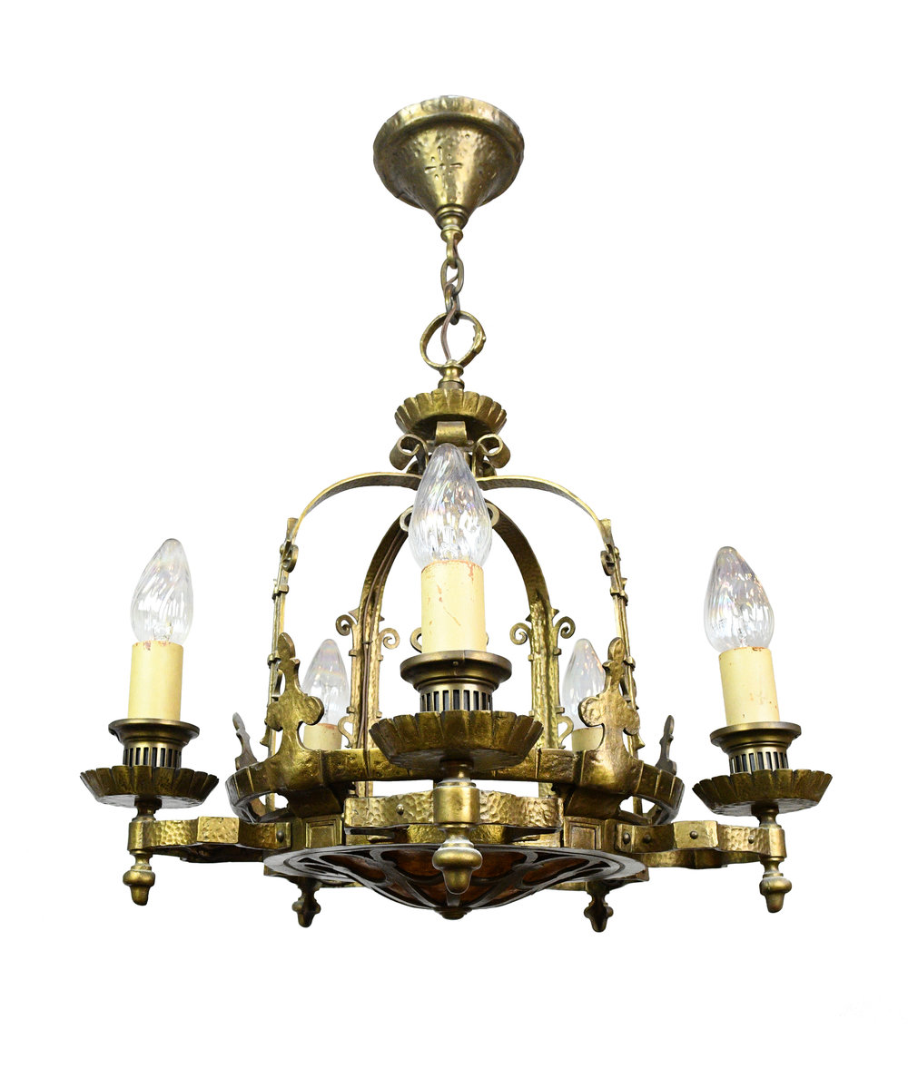 5 light gothic revival chandelier with mica bowl