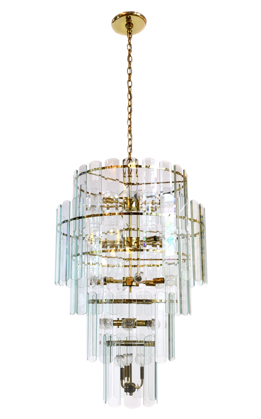 47630 Tall Brass Glass Chandelier Full View Jpg
