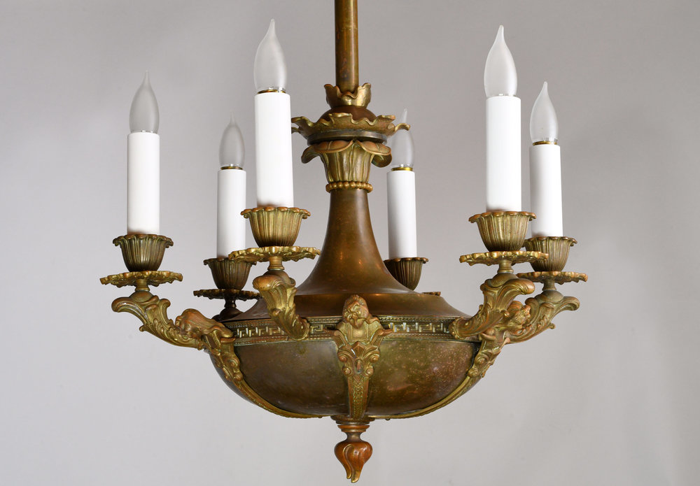 Bronze figural six candle chandelier architectural antiques 47592 figural 6 candle bronze chandelier bodyg aloadofball Image collections