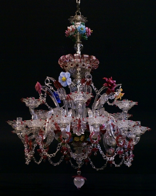 While not eight feet wide, this Venetian chandelier at Dumfries House in Ayrshire, Scotland is an excellent example of the colored glass that became popular in the late 17th-early 18th centuries.