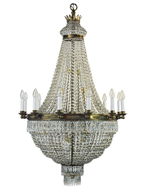 Tent-and-bag style chandelier available right here at Architectural Antiques!