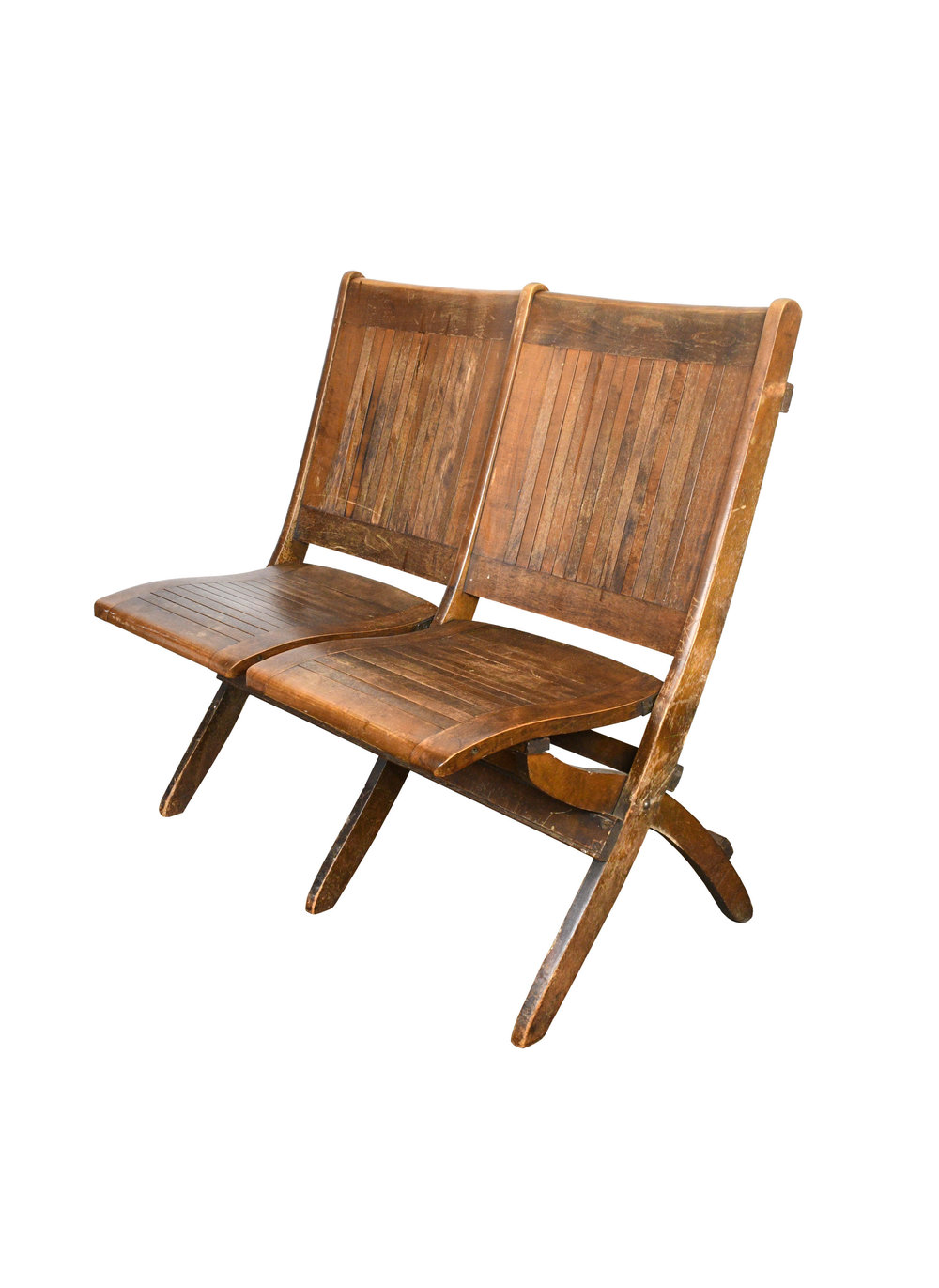 Wood Slat Double Folding Chair   Quantity Available