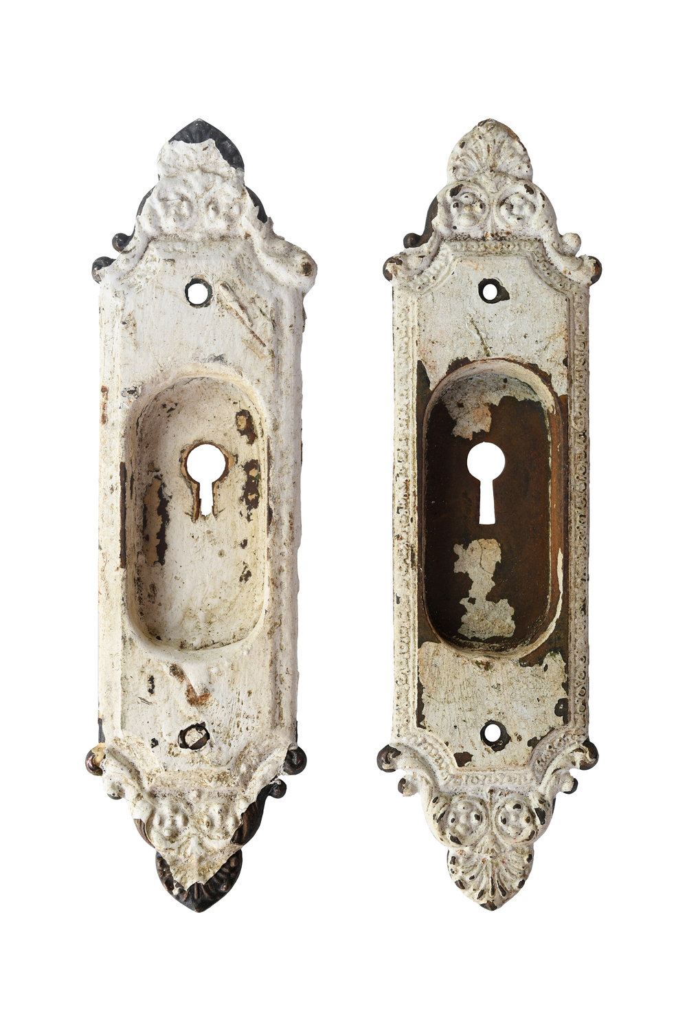 victorian inset pocket door handle