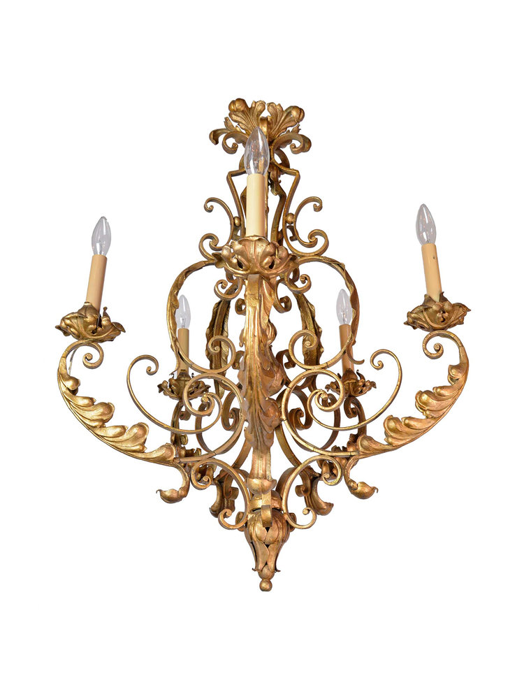 5 arm french chandelier with acanthus leaf architectural antiques 5 arm french chandelier with acanthus leaf aloadofball Choice Image