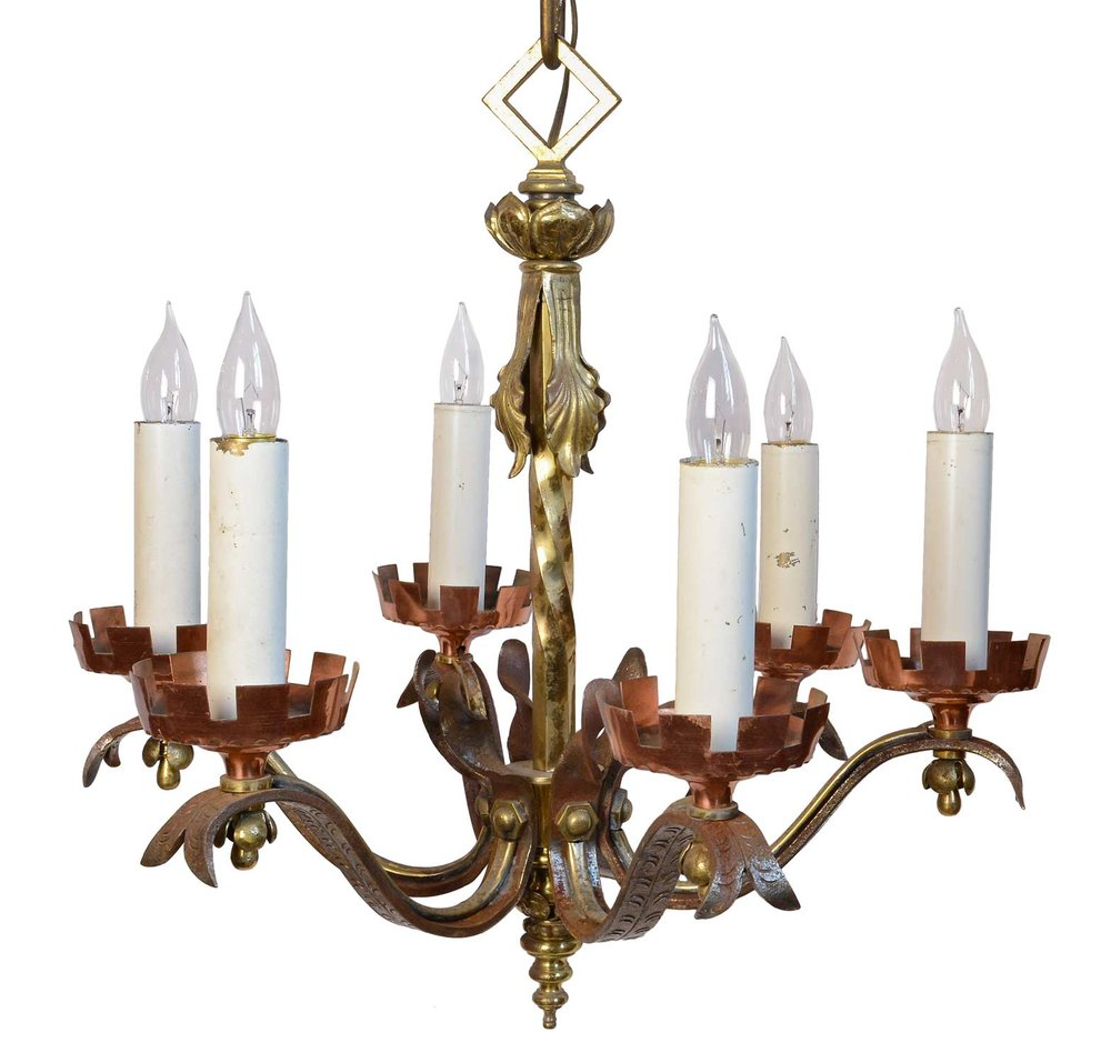 Six arm iron brass and copper chandeliers architectural antiques 45832 6 candle brass and copper chandelier body mozeypictures Image collections