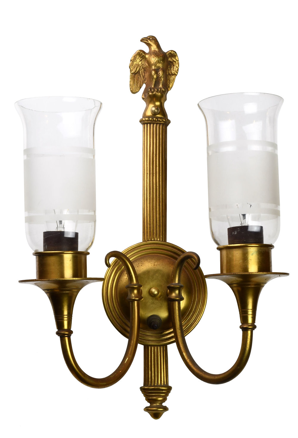 two arm brass eagle sconce with shades