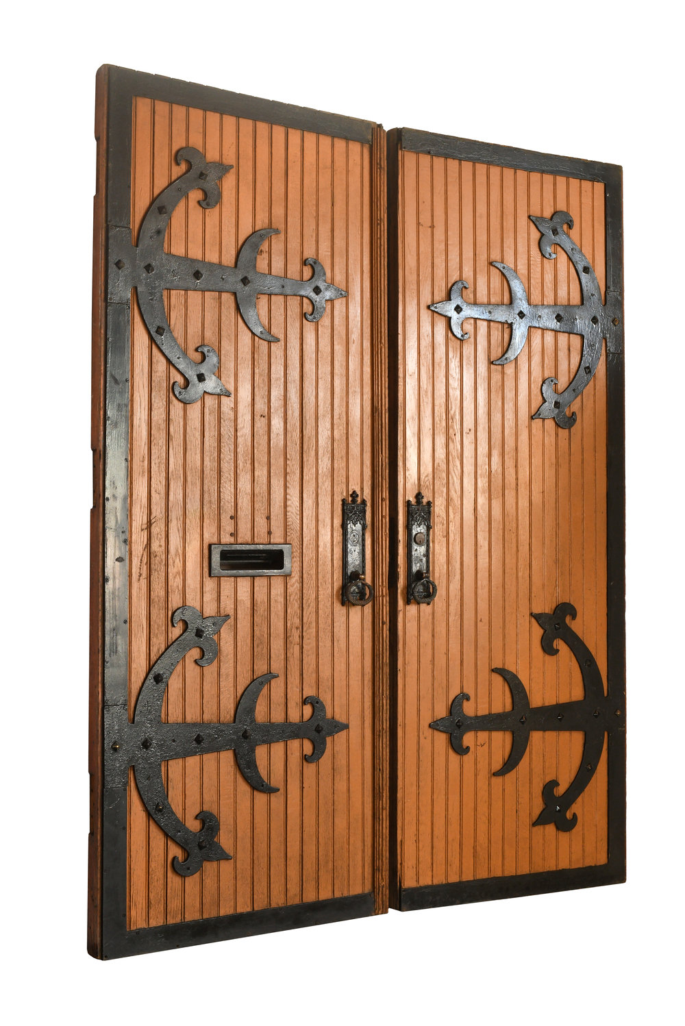 tall wood double doors with strap hinges