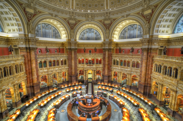 1945 - By this time, holophane lighting is used in the Library of Congress (above), the Senate, and Congress