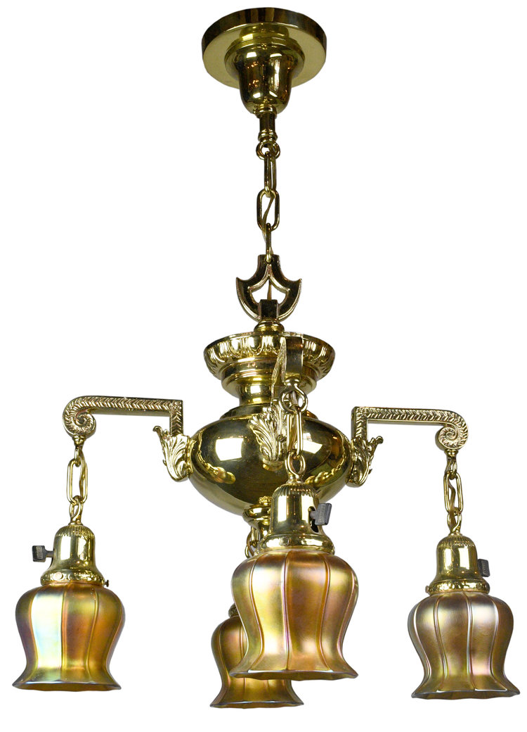 4 Arm Victorian Chandelier With Quezal Shades Architectural Antiques
