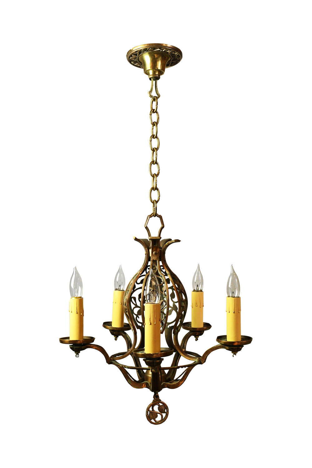 bronze five candle chandelier with leaves