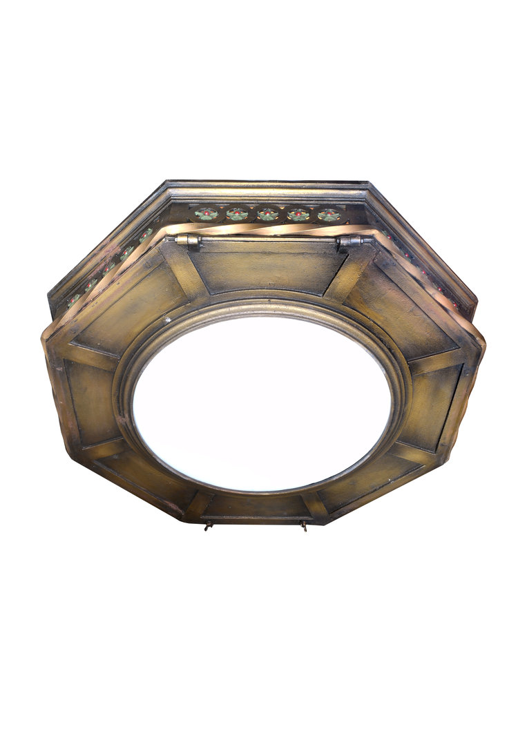 eight light octagonal theater flush mount — ARCHITECTURAL ANTIQUES