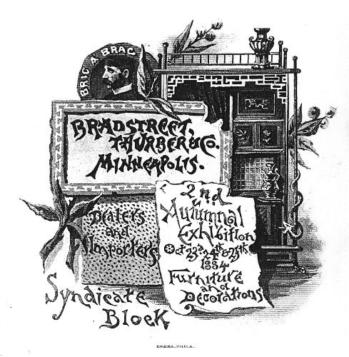 Illustration from;  Bradstreet Thuber & Company, (pamphlet, 1884 Cover), Courtesy of Minneapolis Public Library, Special Collections