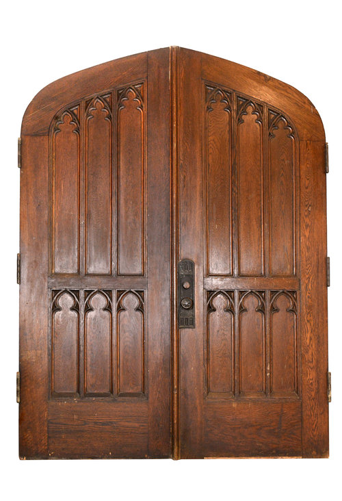 47845-gothic-double-oak-arched-door-front-view. - Doors — ARCHITECTURAL ANTIQUES