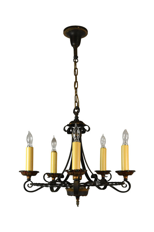 Chandeliers architectural antiques 47819 5 candle iron polychrome chandelier 2g aloadofball Choice Image