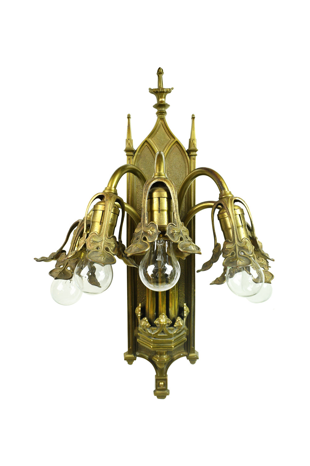 gothic cast brass five light sconce