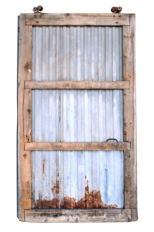corrugated steel barn door