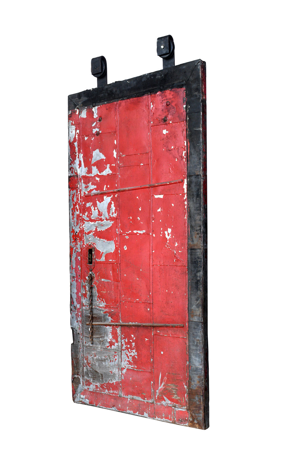 red steel fire door