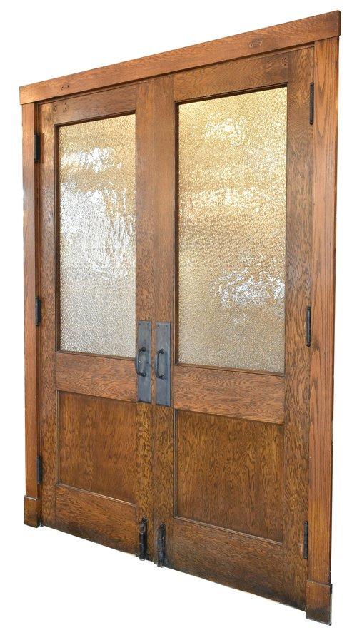 half view oak double doors
