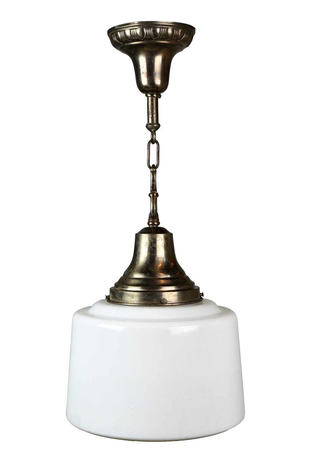 egg & dart pendant with schoolhouse shade