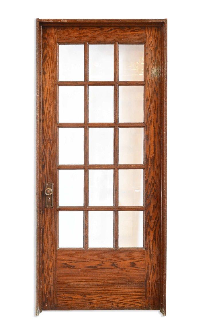 divided light oak schoolroom door