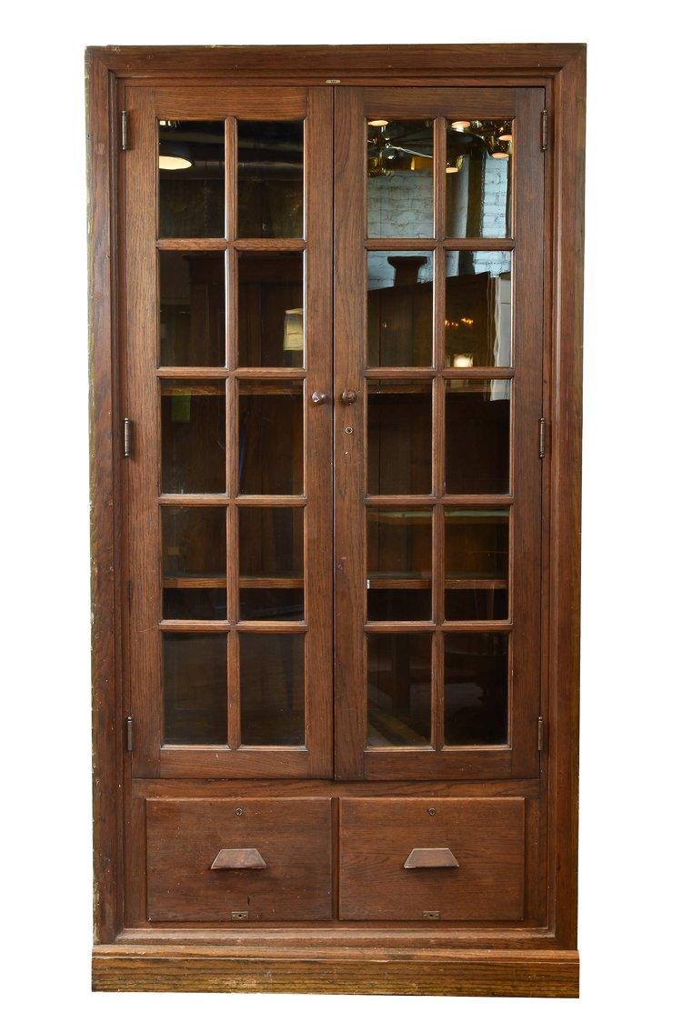 fumed oak schoolroom cabinet