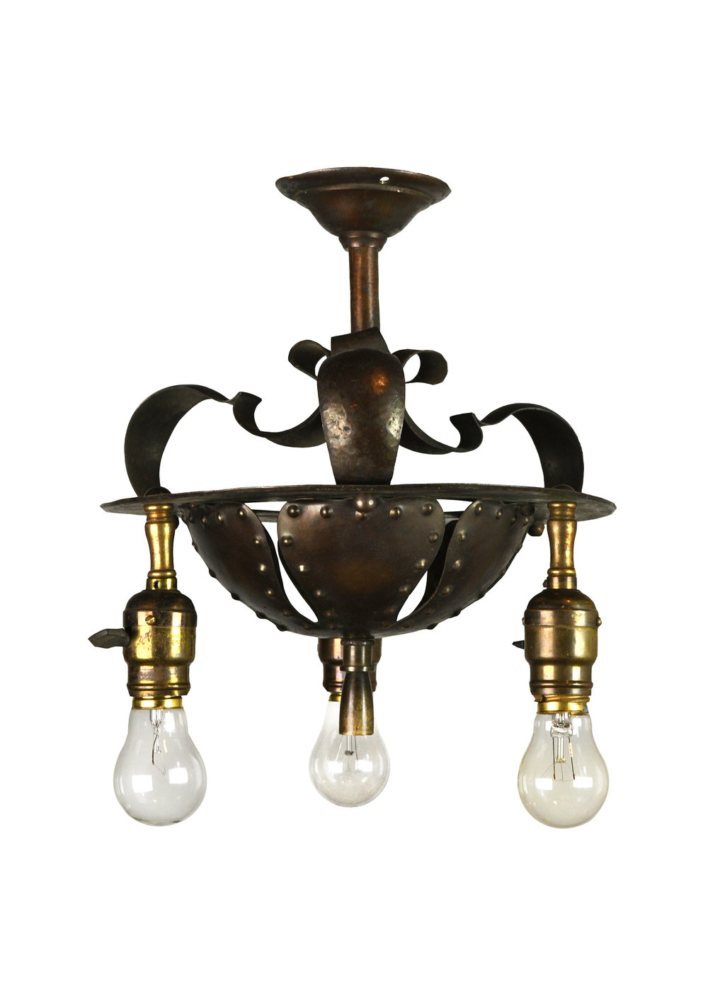 tudor three light hammered flush mount