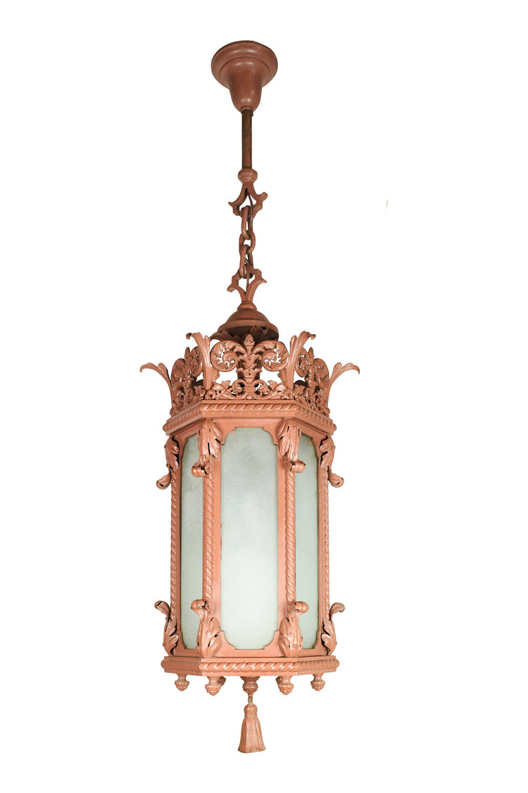 """36"""" Pendant, 6 sides of Brass, Glass & Iron   The smallest of the grouping at 36"""" isn't exactly tiny. 6 sides Brass, iron & textured glass create a stunning pendant. This piece of history will make a compelling statement piece wherever it ends up.   THERE ARE 2 OF THESE!"""