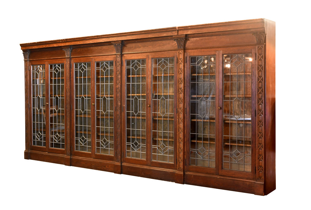 Carved Bookcase With Leaded Glass Doors Architectural Antiques