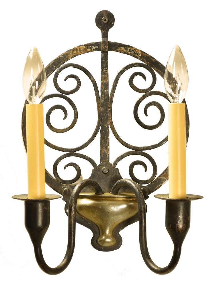 early arts & crafts iron & brass wall sconce — ARCHITECTURAL ANTIQUES
