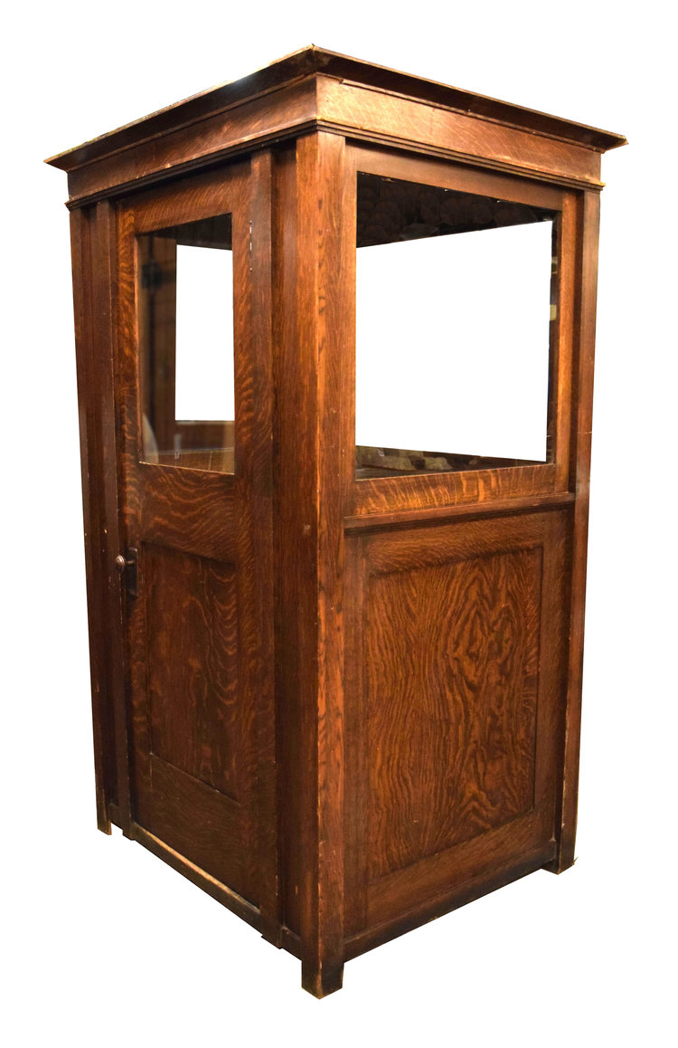 Quarter Sawn Oak Ticket Booth Architectural Antiques