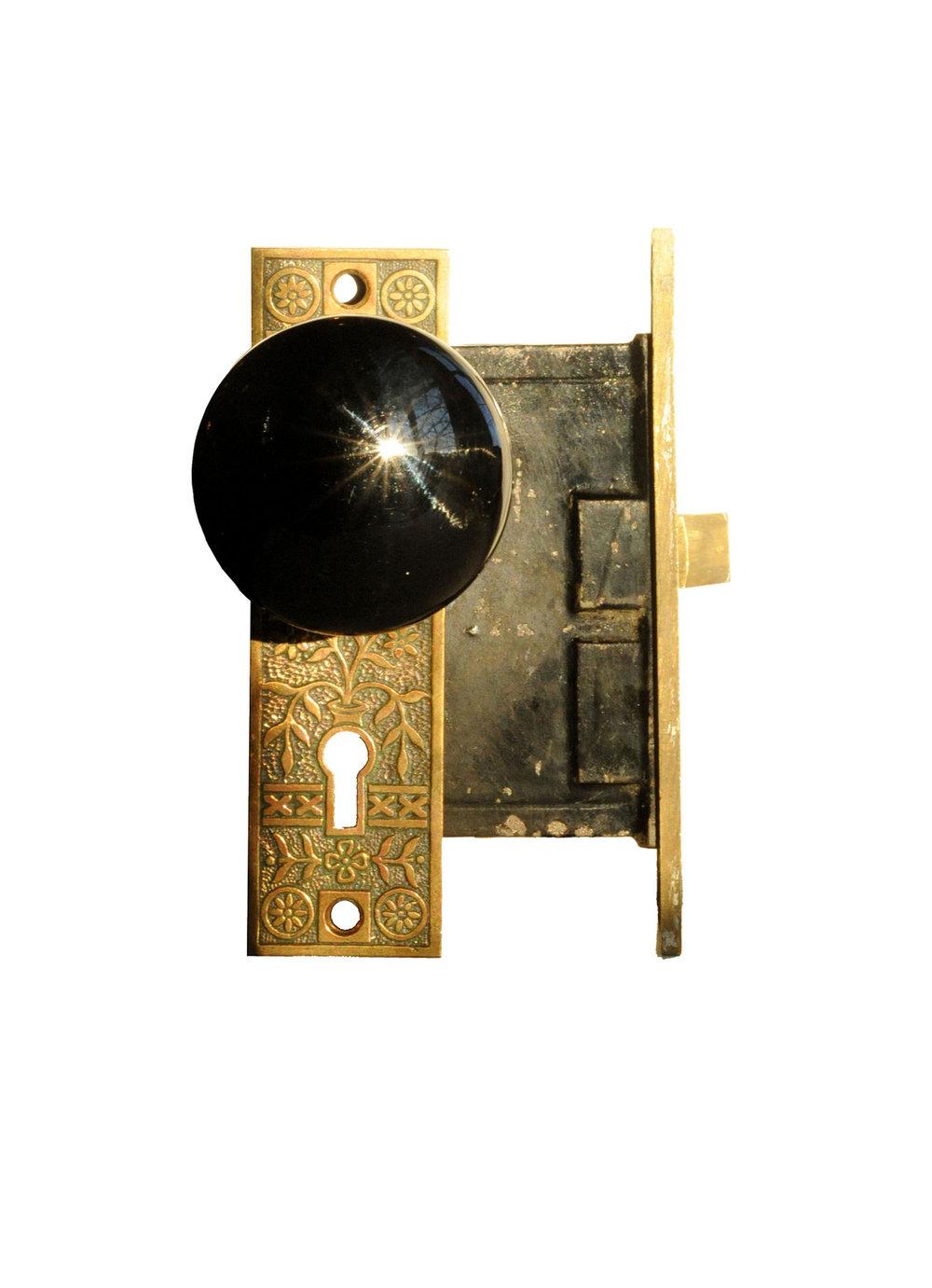 BLACK PORCELAIN AND CAST BRONZE EASTLAKE DOOR KNOB SET AA# H20097   1 set available $85.00 for set