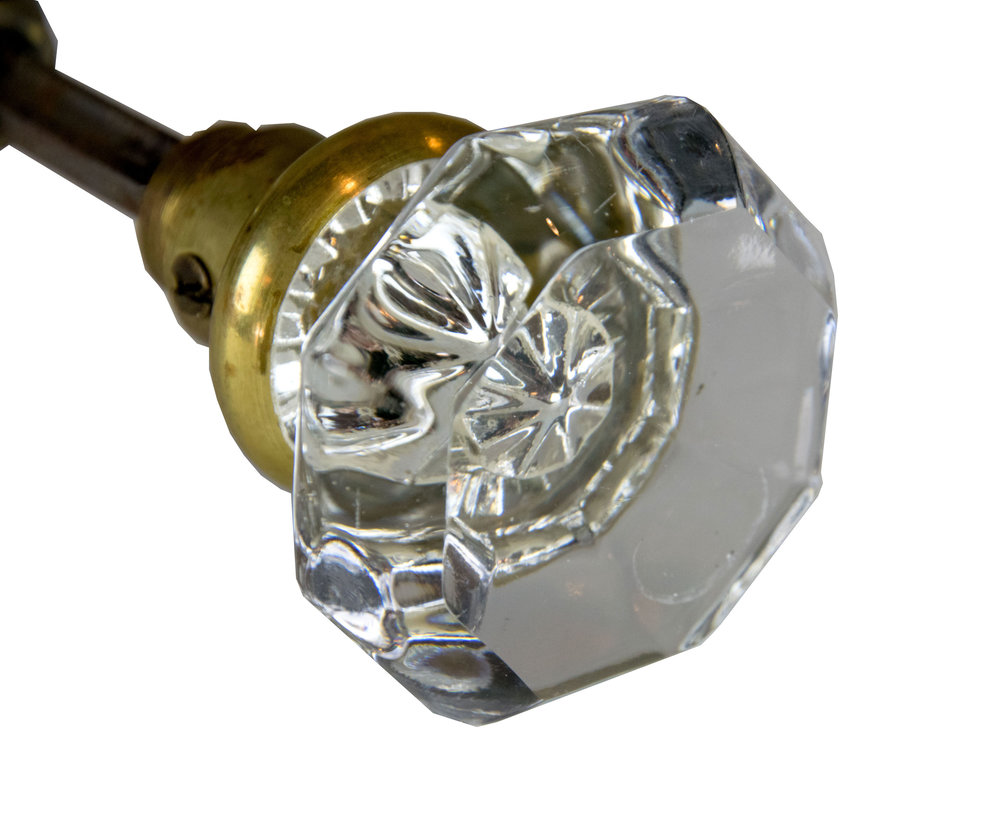 8 SIDED ROUND CRYSTAL KNOB WITH BRASS HARDWARE SMALL  AA# H20183   6 sets available $145.00 each set