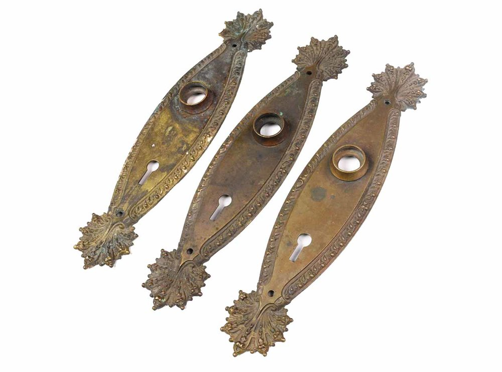CAST BRASS MARQUISE DOOR PLATES AA# 46085   3 available $100.00 each