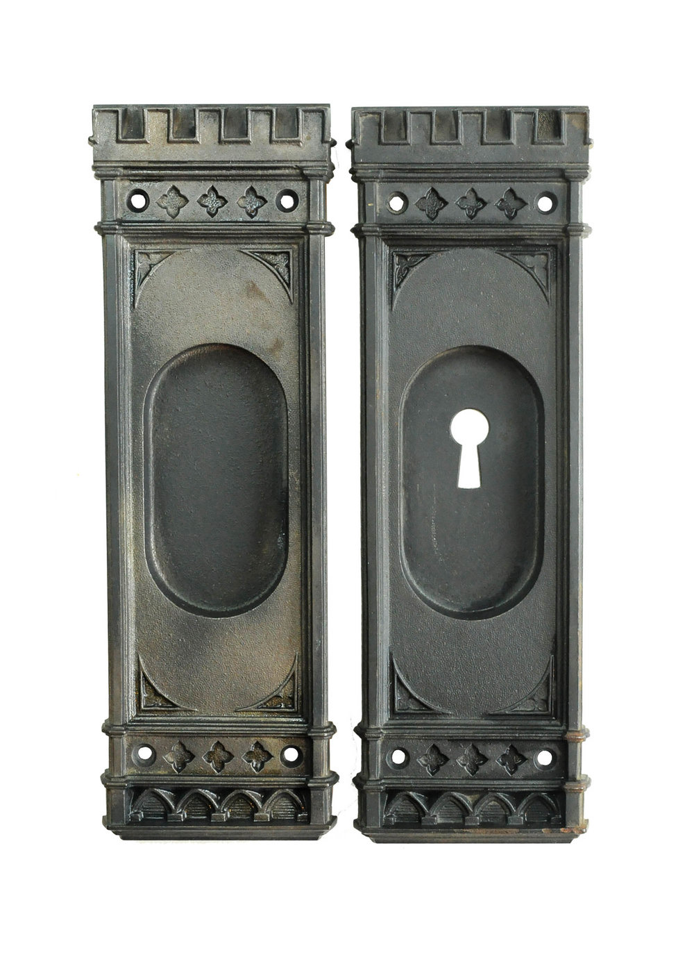 CAST IRON GOTHIC POCKET DOOR PULL SET AA# H20106   1 set available $150.00 for set