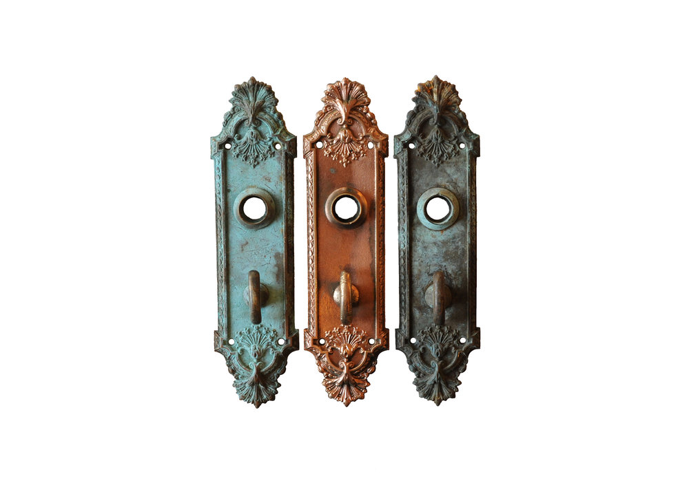 ORNATE BRONZE DOOR PLATE WITH THUMBTURN AA# H20095   6 available $60.00 each