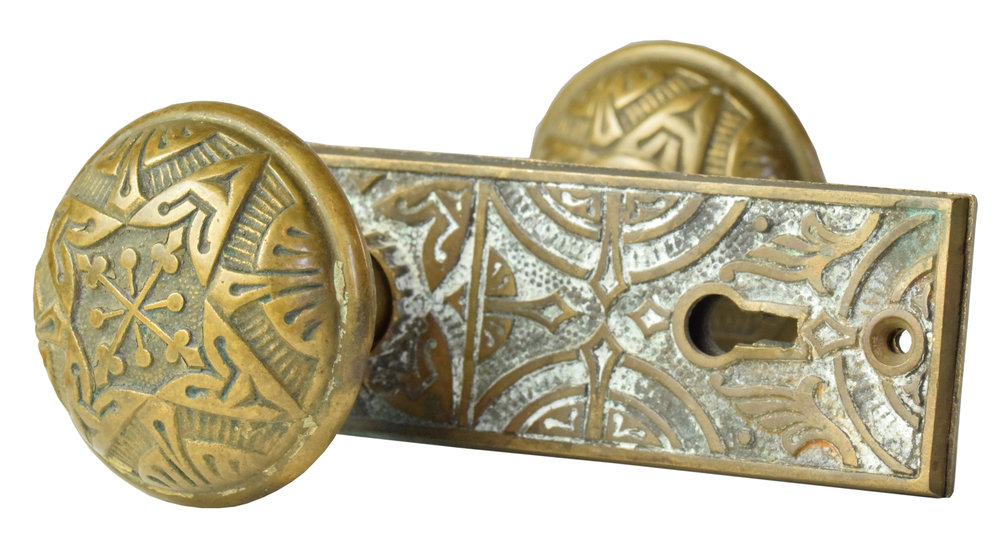 EASTLAKE CAST BRONZE DOOR KNOB SET AA# 22000-008   1 set available $245.00 for set