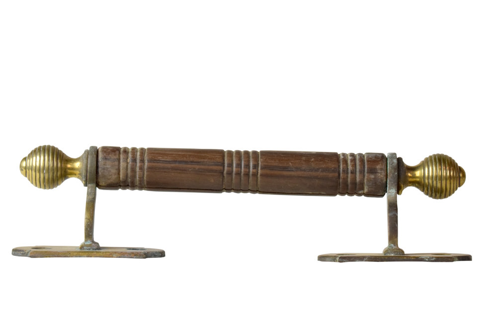 WOOD AND BRASS DRAWER PULL AA# H20129   1 available $65.00 each