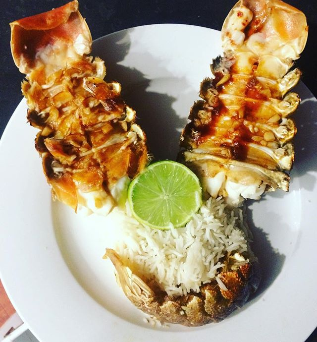 Summer holidays lots of wakeboarding fun.. Then home to this delicious Oven baked Morton bay bugs in a garlic lime chilli & coriander w/ shredded coconut rice ..OMG Yummy !! I'm so spoilt 😍#summer #sexy #chef #healthy #seafood #fitness #nutrition #fitness #fitfood #madewithlove #love #instafood #happiness #spoilt #heaven #picoftheday #cleaneating