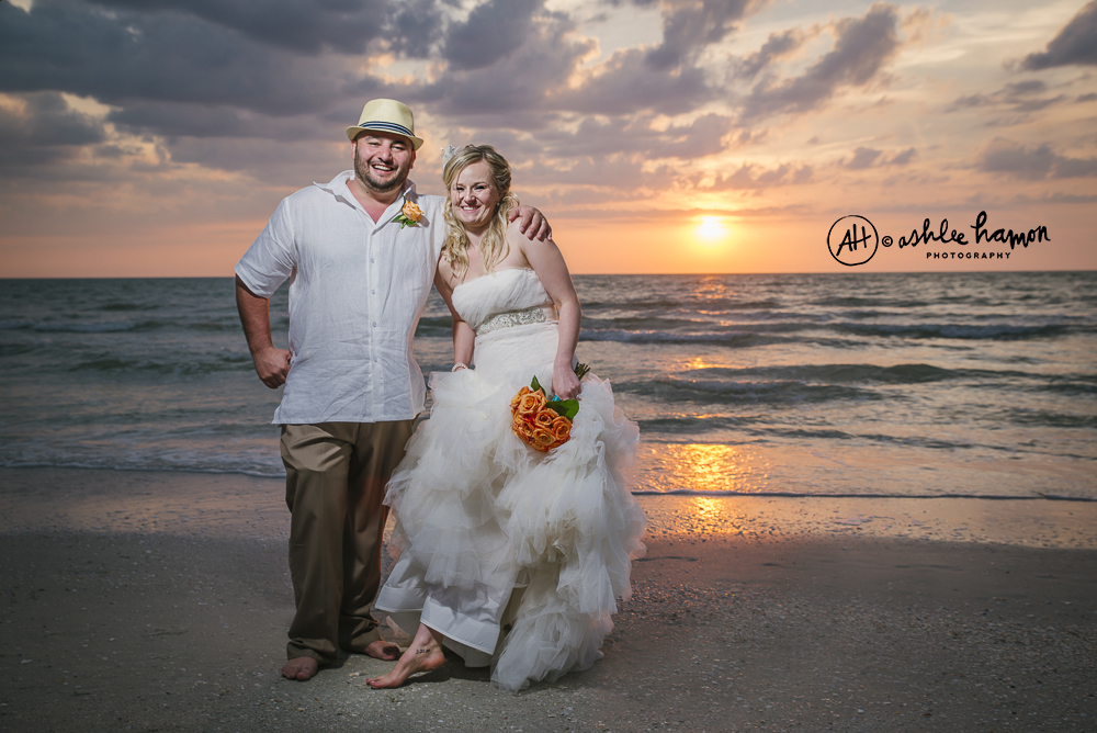 beach wedding sunset photo