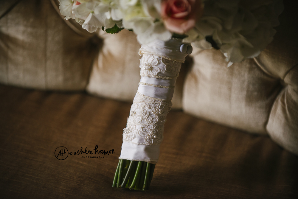 The wrapping was made from the Mother of the Groom's wedding dress!