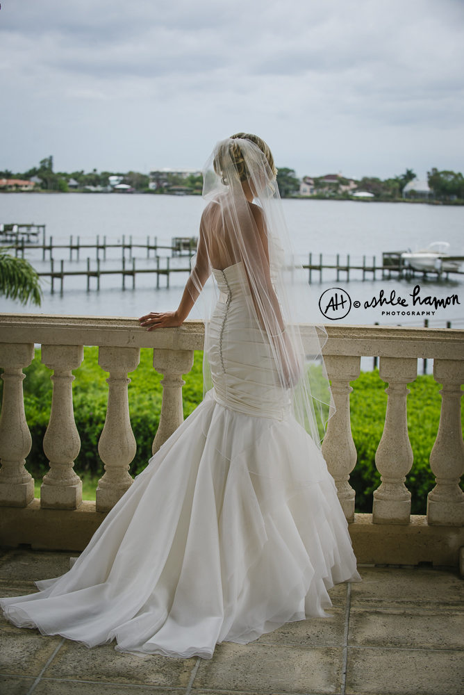 balcony bridal portrait