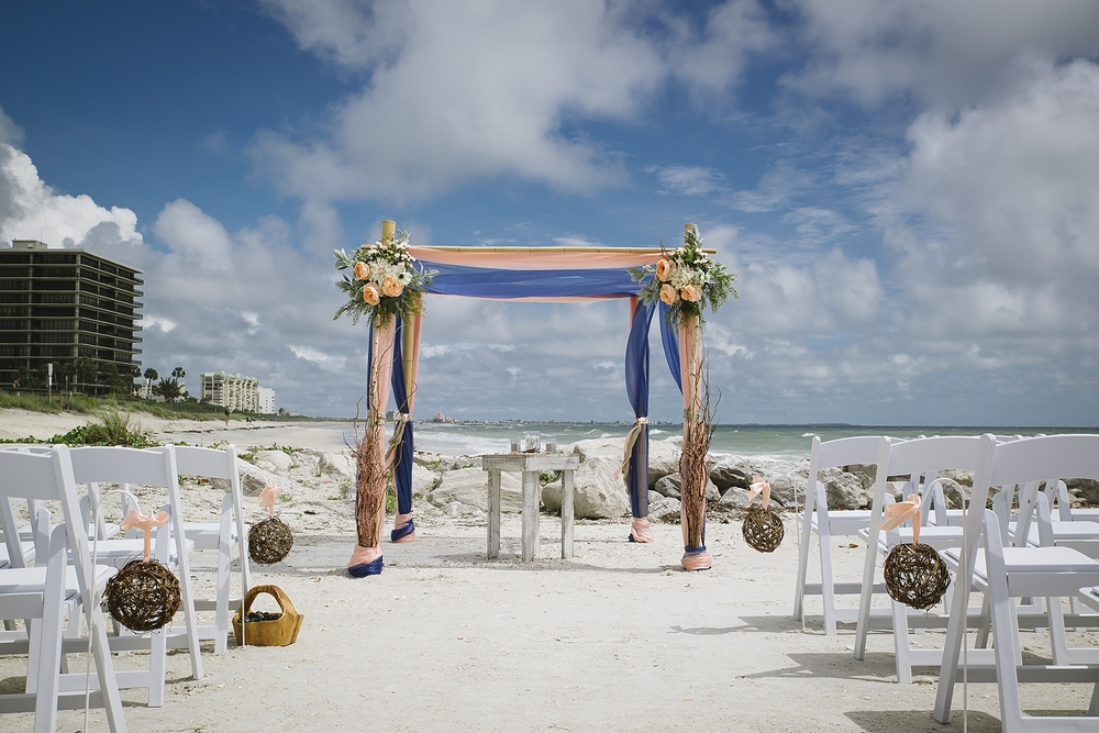 florida beach wedding dark wood arbor