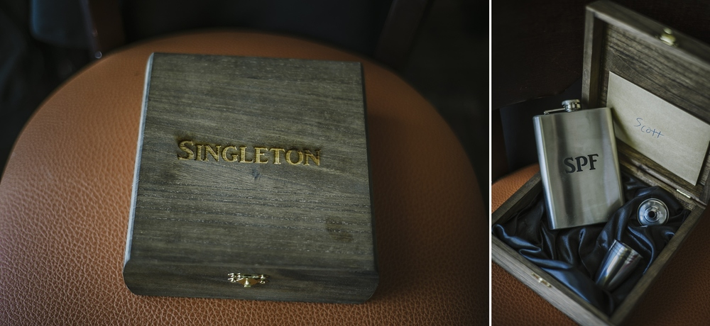 personalized wooden box with flask groomsmen gift