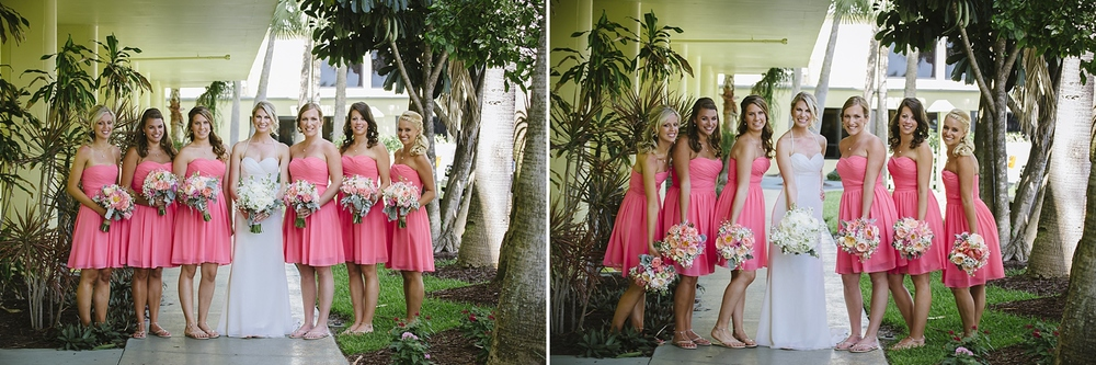 coral pink bridesmaids sirata beach wedding photos