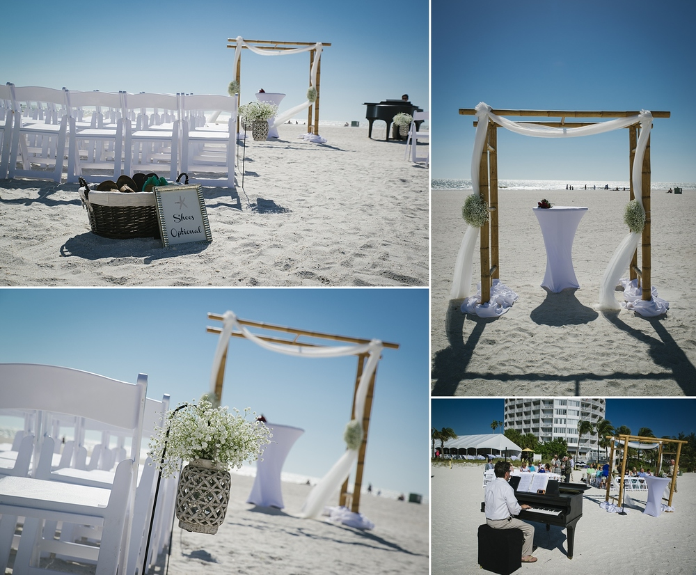 sirata beach wedding photos with baby grand piano